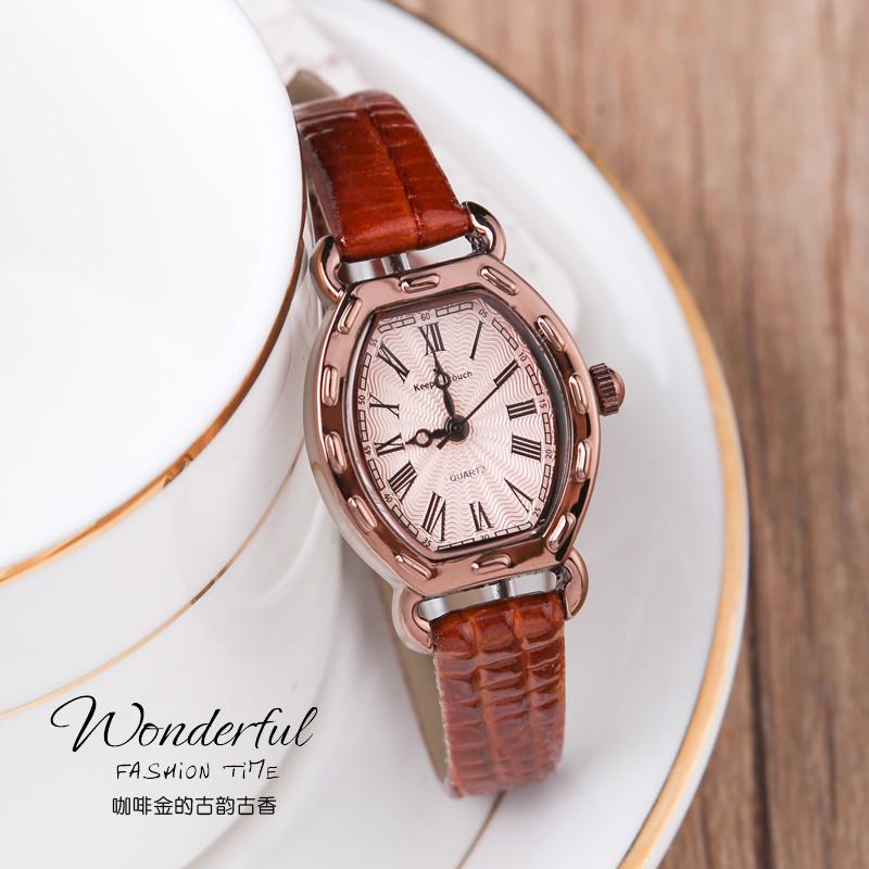 英特斯手表,女士手表复古椭圆形表盘,罗马数字刻度